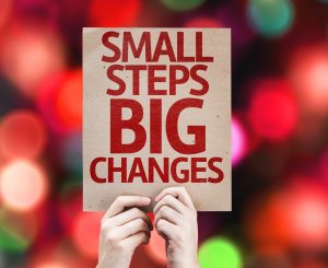 Small Steps Big Changes card with colorful background